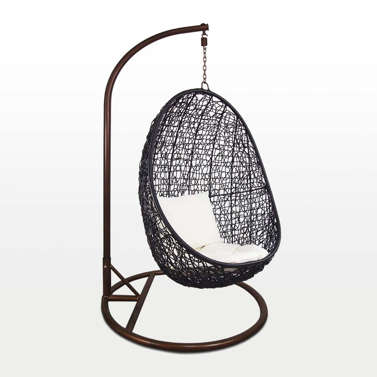 Swing Chairs Black Cocoon Swing Chair White Cushion Furniture And Home
