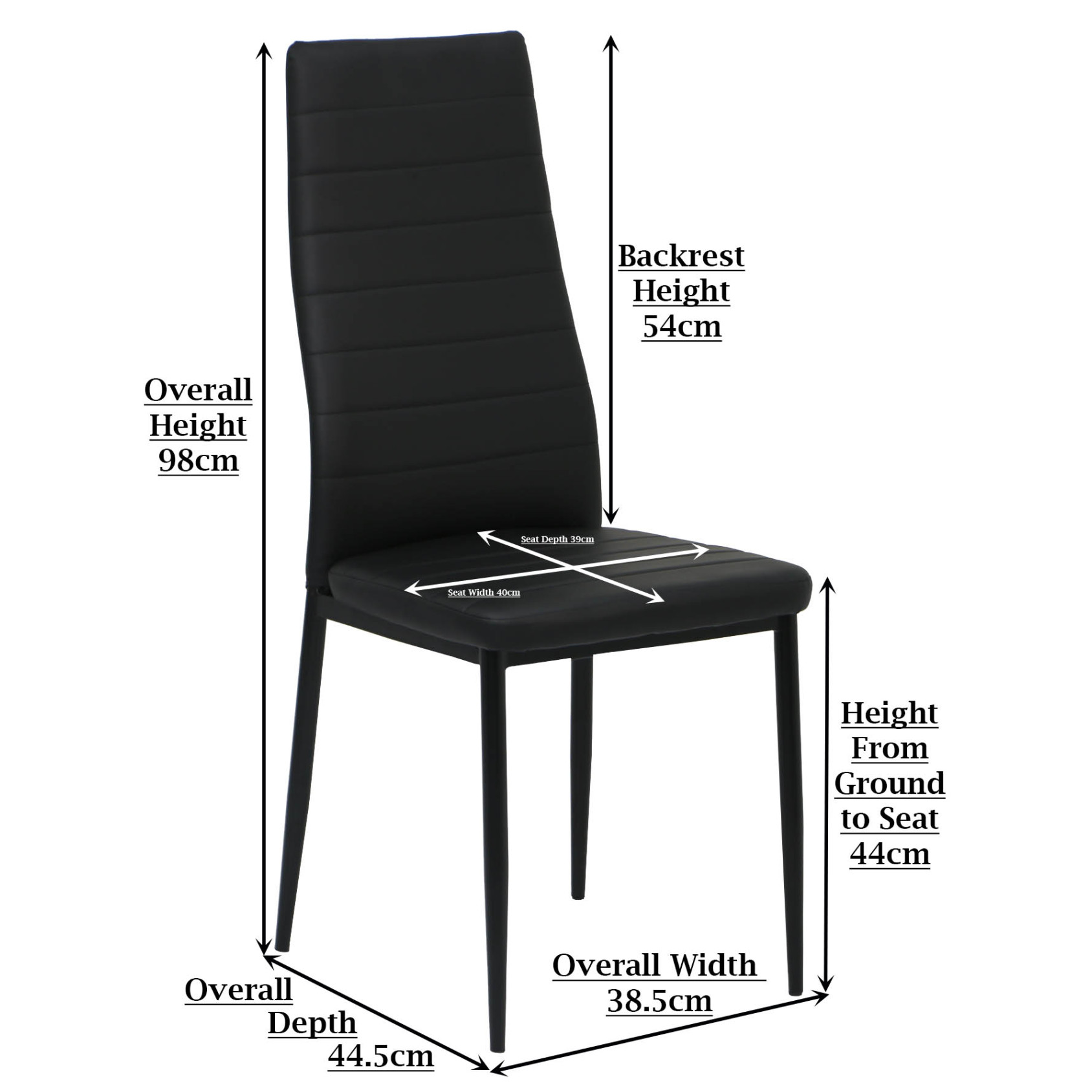 Dining Chair Dimensions Quinn Dining Chair Black