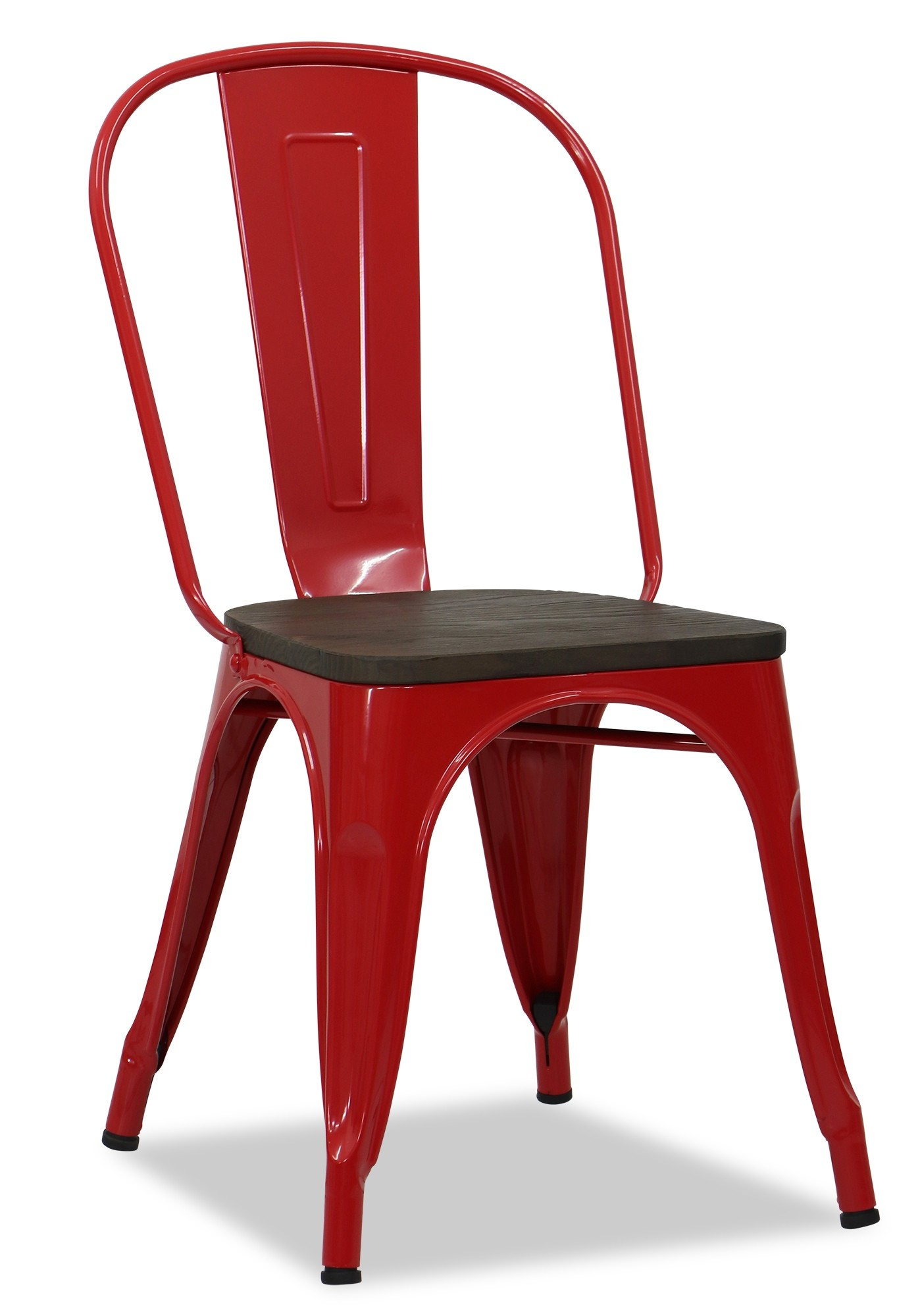 Metal Chair With Wood Seat Retro Metal Chair With Wooden Seat In Red Furniture