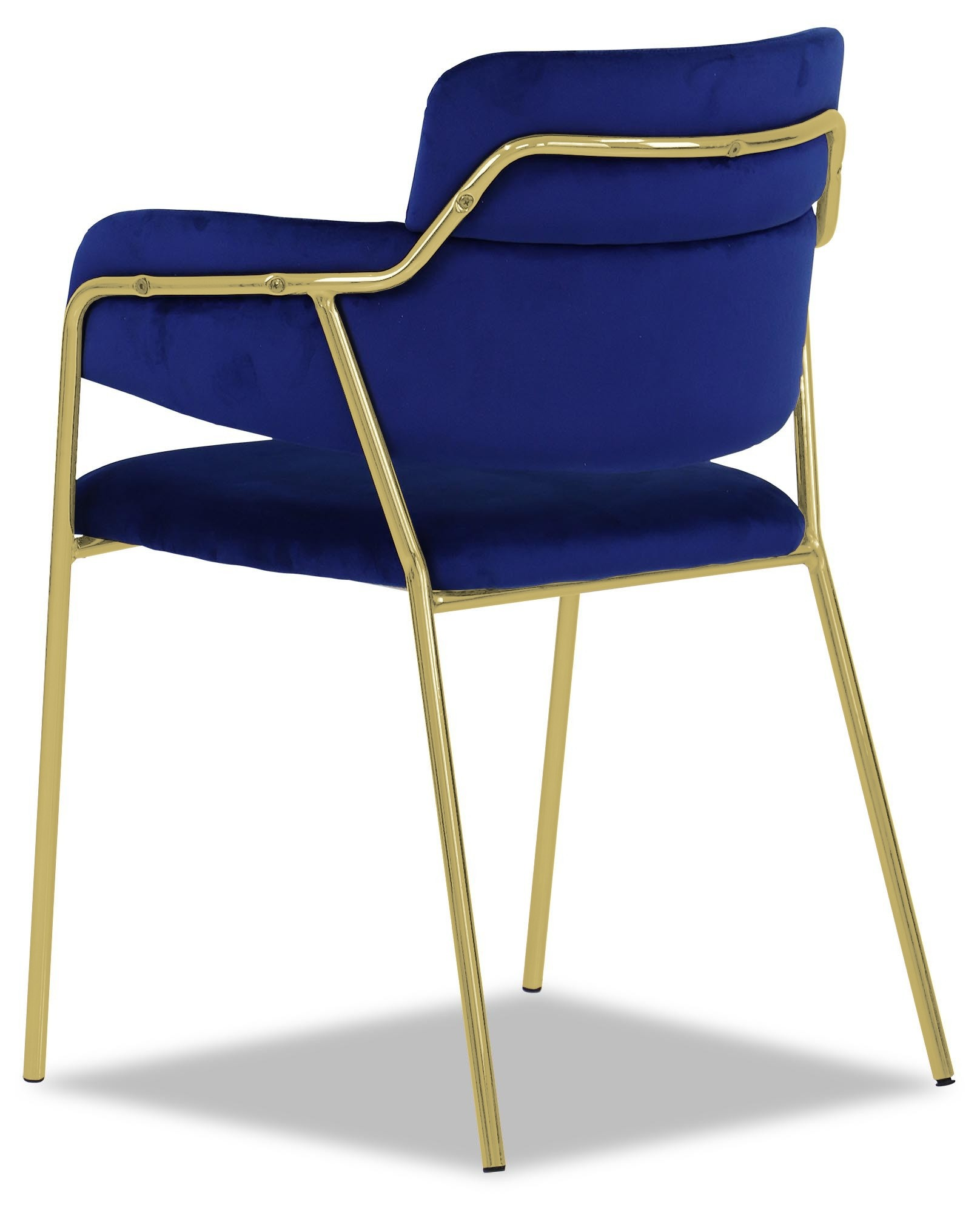 Cobalt Blue Chair Emmiel Chair With Gold Legs In Royal Blue