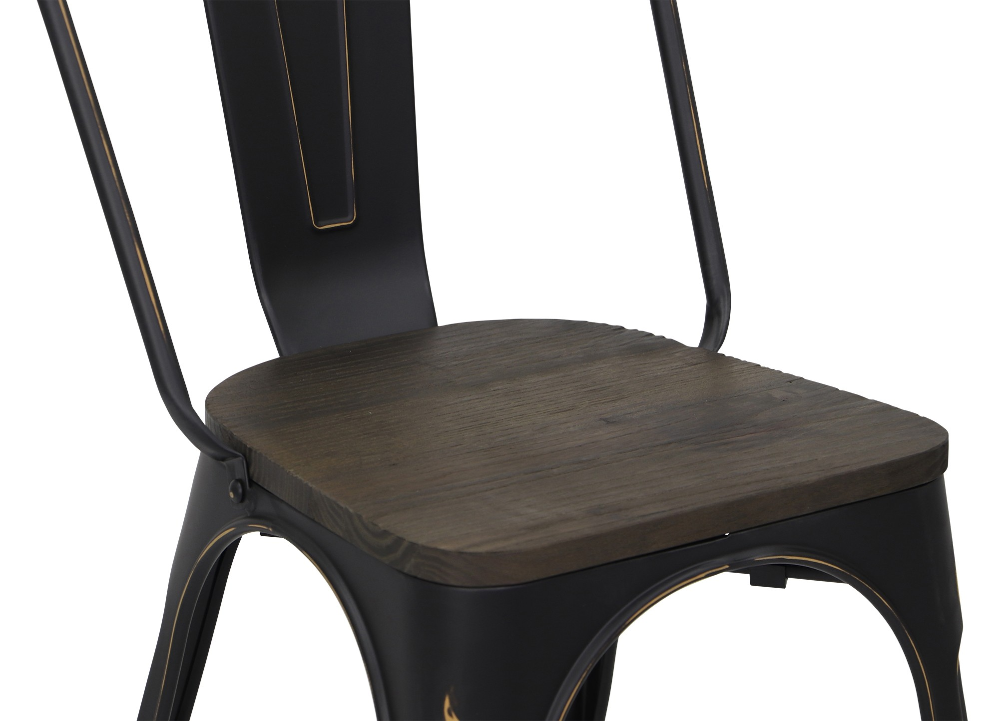 Metal Chair With Wood Seat Retro Metal Chair With Wooden Seat In Antique Black