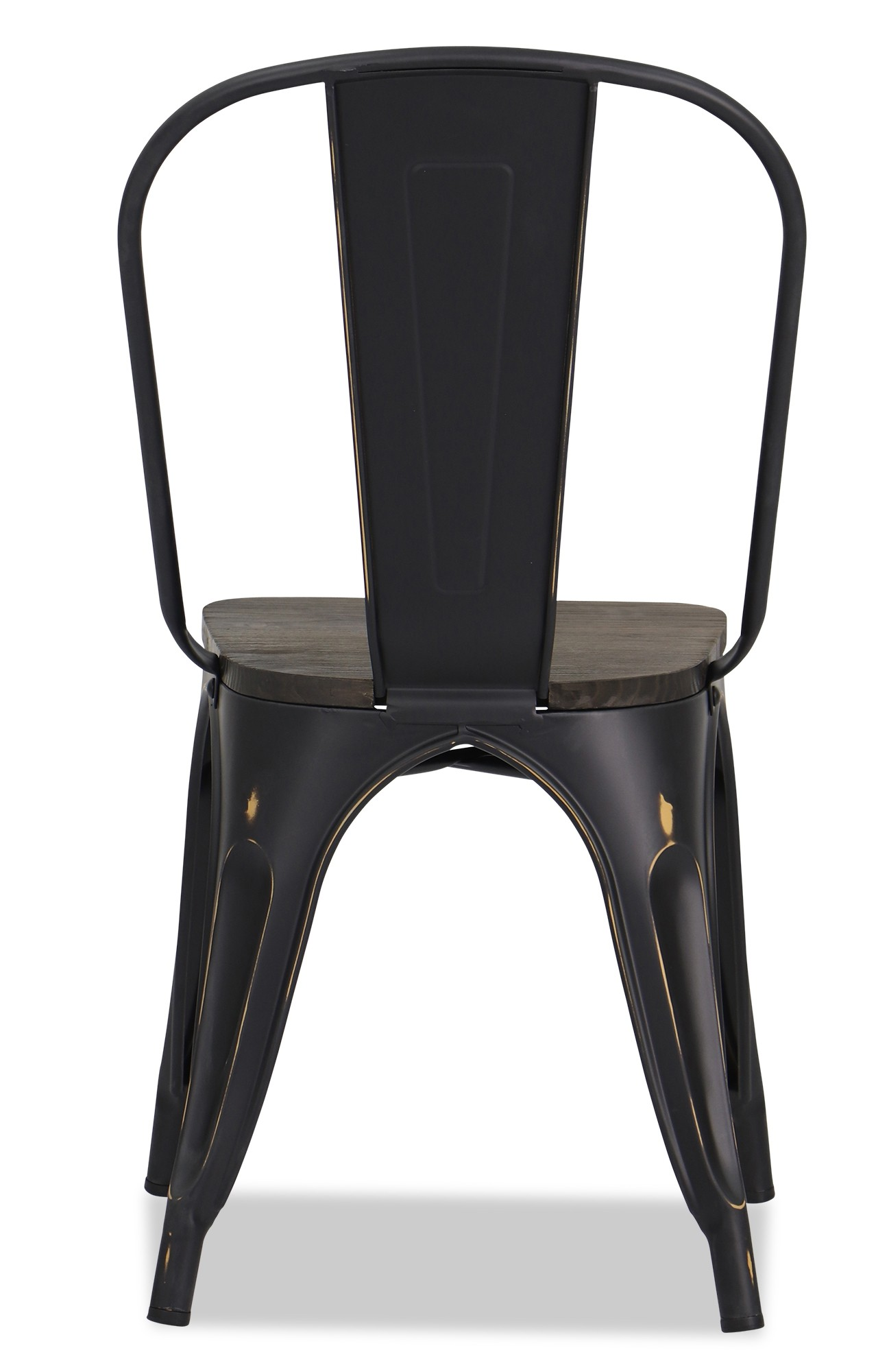 Retro Dining Chair Retro Metal Chair With Wooden Seat In Antique Black