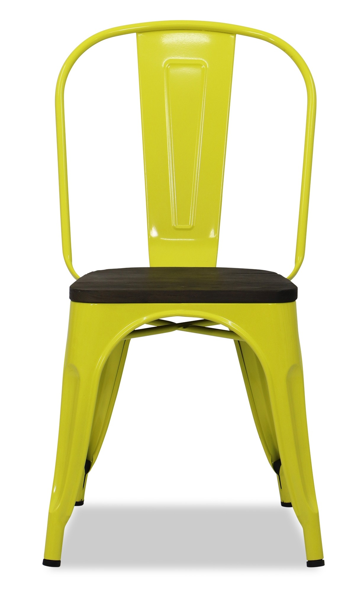 Metal Chair With Wood Seat Retro Metal Chair With Wooden Seat In Yellow Furniture