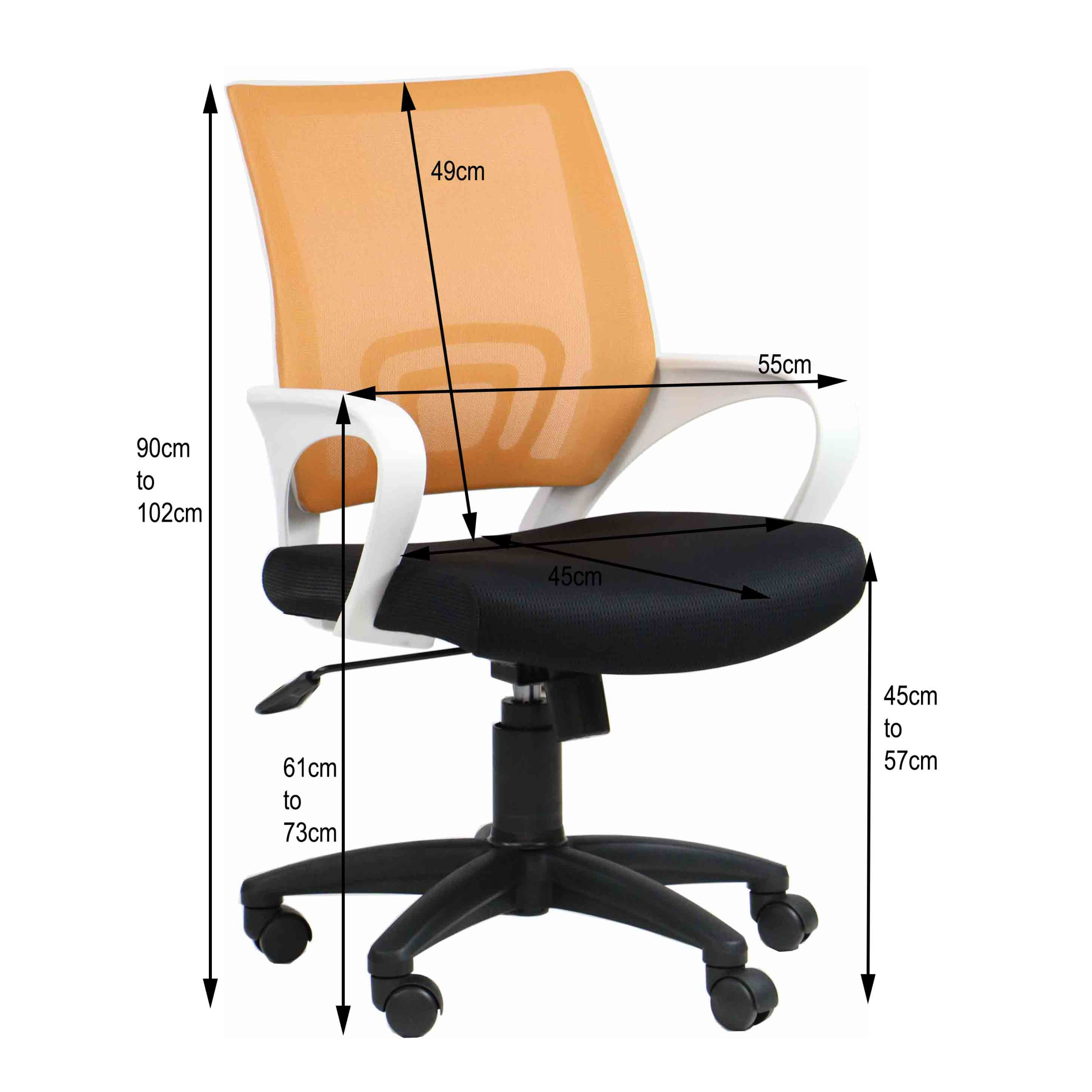 Orange Office Chairs Aof Jean Lumbar Support Low Back Office Chair