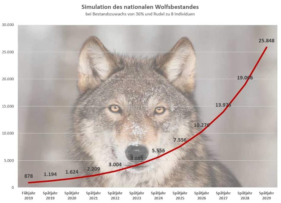 Simualtion des Wolfsbestandes von 2019 bis 2020