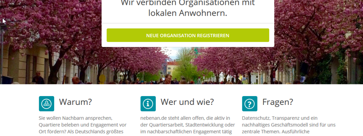 Screenshot Organisationsprofile nebenan.de