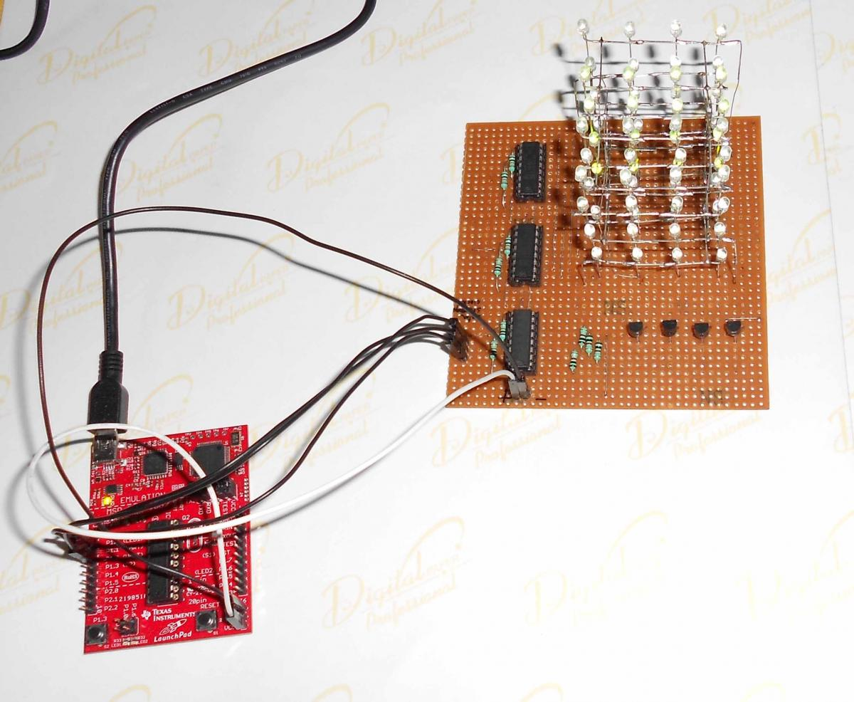 hight resolution of 4x4x4 led cube using 3 pins of msp430 launchpad projects 43oh