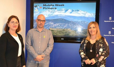 Ritz, Baró i Erta durant la presentació de la Mobile Week Pirineu