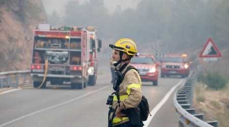 Un bomber observa l'incendi de Maials,l'estiu de l'any passat - ACN