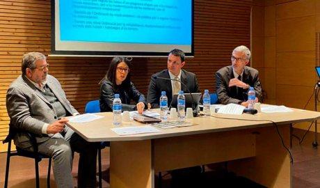 Els cònsols d'Encamp, Jean-Michel Rascagneres i Laura Mas, juntament amb el ministre d'Economia, Jordi Gallardo, i el secretari d'Estat Eric Bartolomé