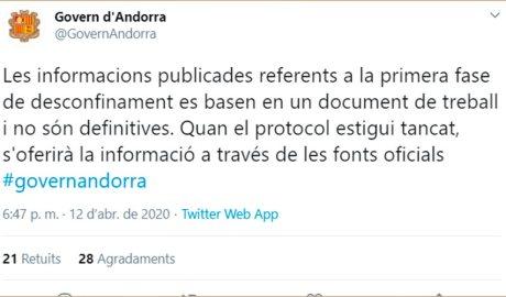 UN tuit del Govern