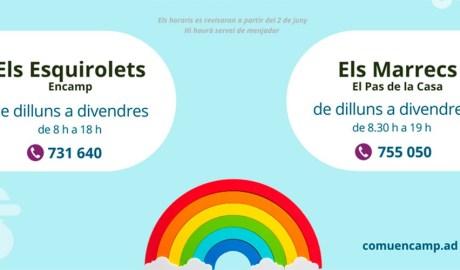 Cartell amb els horaris de les escoles bressol d'Encamp