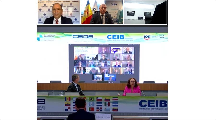 Imatge de la pantalla de la reunió telemàtica del Consell d'Empresaris Iberoamericans amb el rei Felip VI