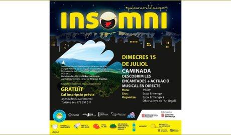 Cartell anunciant una caminada nocturna en el marc del cicle Insomni