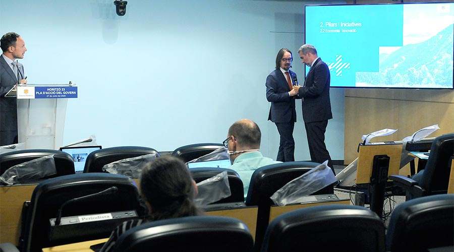 Xavier Espot, Landry Riba i César Marquina presentant 'Horitzó 23', el pla d'acció de Govern pel període 2020-2023