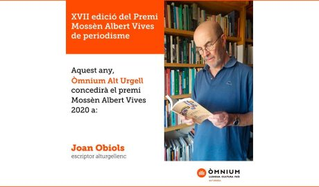Publicitat que anuncia que Joan Obiols és el premi Mossèn Albert Vives de periodisme del 2020
