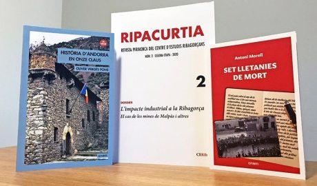 Les portades dels llibres Història d'Andorra en onze claus, Set lletanies de mort i de la revista Ripacurtia