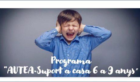 """Un nen plorant i tapant-se les orelles amb el lema a sota """"Programa AUTEA Suport a casa 6 a 9 anys"""""""