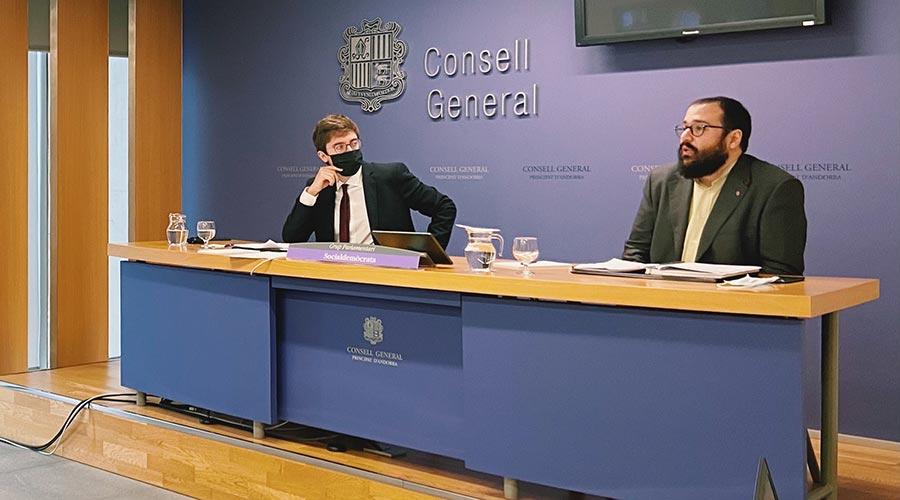Els consellers generals socialdemòcrates Roger Padreny i Carles Sánchez