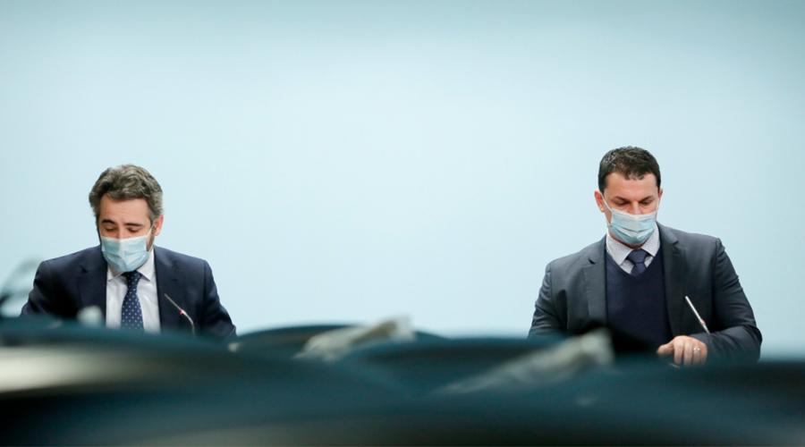 Eric Jover, ministre portaveu, i Jordi Gallardo, ministre d'Economia.