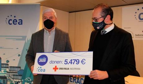 El president de la CEA, Gerard Cadena, i el de Creu Roja Andorrana, Josep Pol.