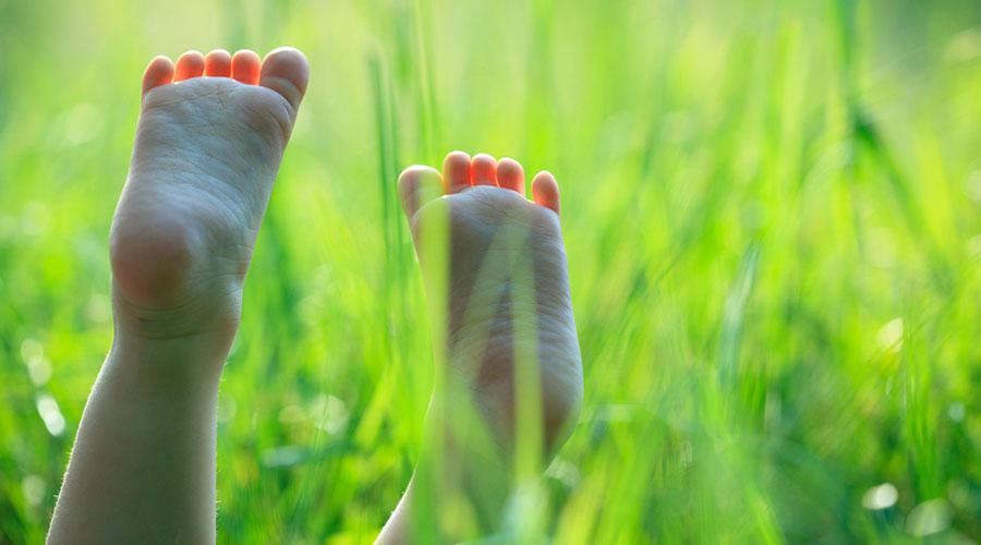 Peus descalços d'un nen a l'herba