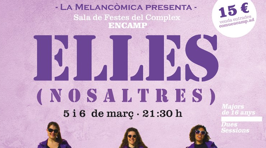Part del cartell anunciant la representació del 'obra 'Elles'