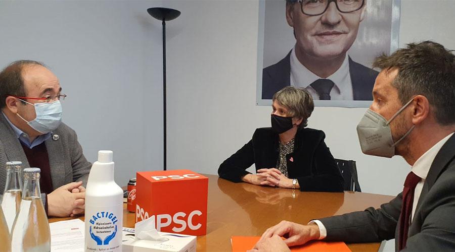 Iceta, Vela i López en un local del PSC