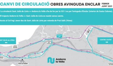 Plànol que mostra els canvis de la circulació a l'avinguda d'Enclar