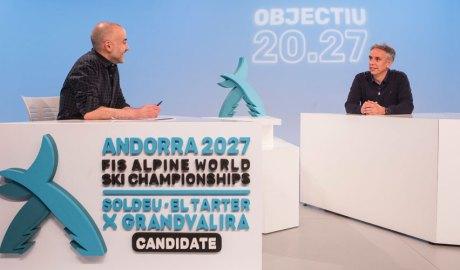 El periodista Joan López i el director de la candidatura andorrana per acollir els campionats del món d'esquí alpí del 2027, David Hidalgo