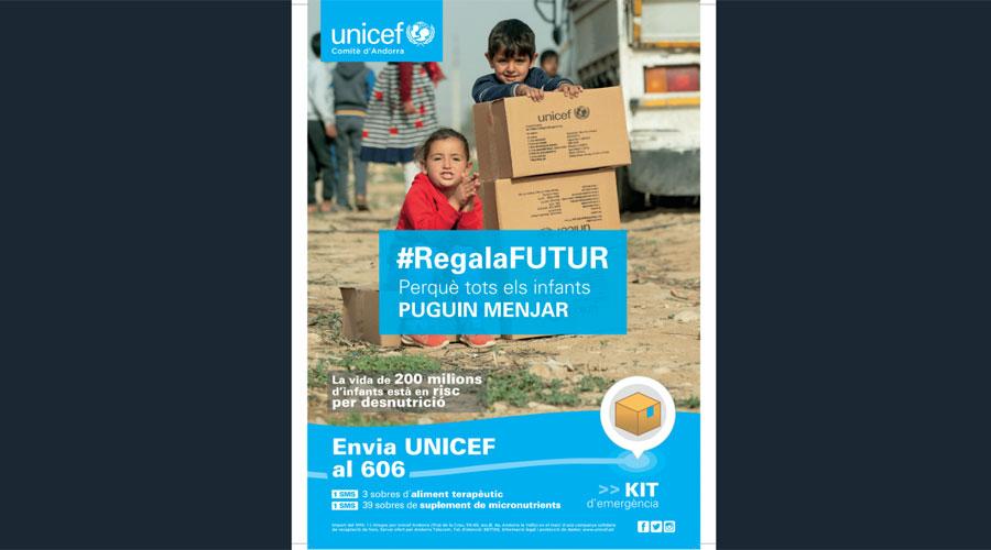 Un cartell de la campanya #RegalaFutur d'Unicef