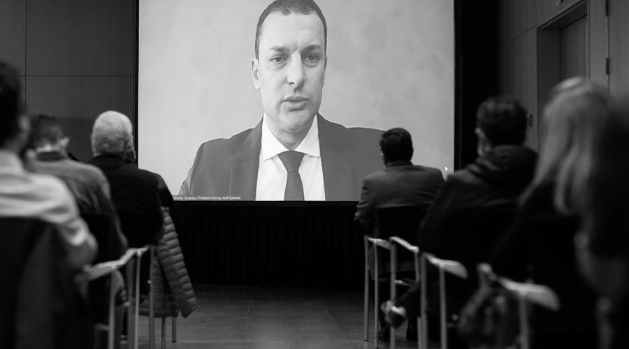 Gallardo intervenint telemàticament a la presentació del Pla estratègic dels esports electrònics