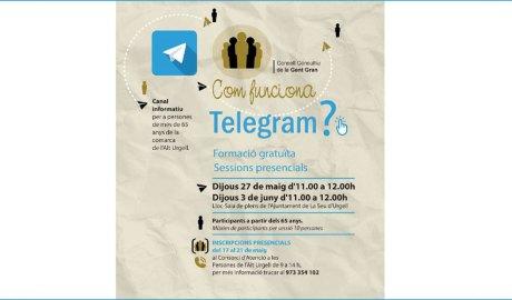 Publicitat del taller de Telegram de la Seu d'Urgell