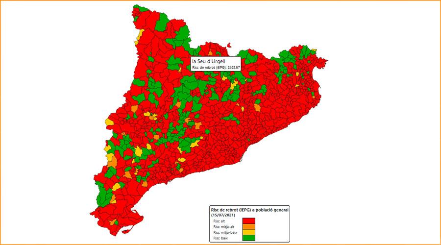 Mapa de Catalunya de risc de rebrot de Covid-19