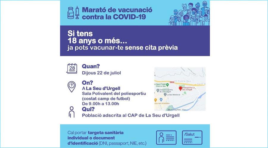 Cartell d'una marató de vacunació contra la Covid-19 a la Seu d'Urgell.