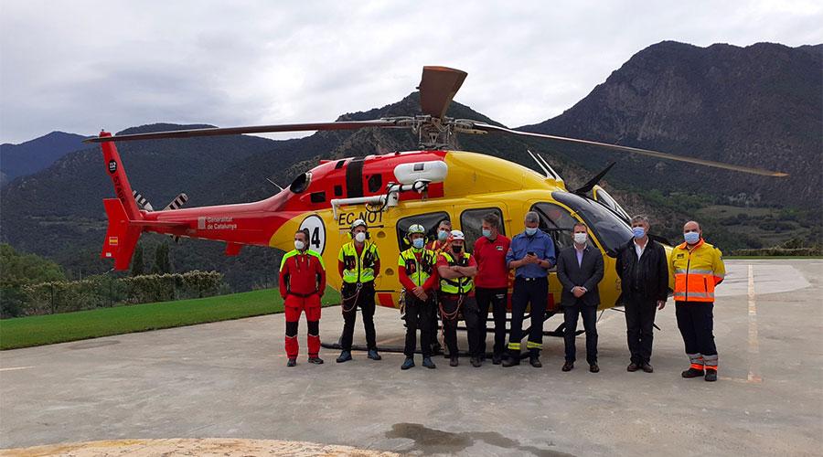 Helicòpter medicalitzat a l'heliport de Tírvia (Foto: Delegació del Govern a l'Alt Pirineu i Aran)
