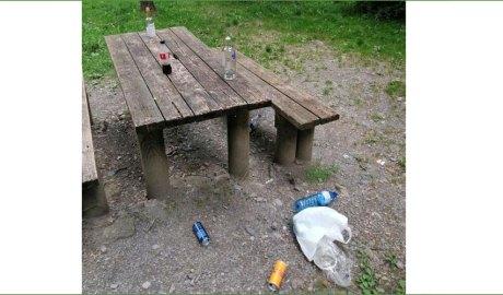 Una taula del berenador d'Os de Civís amb restes d'un botellot.