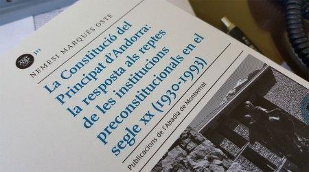 El llibre de Nemesi Marquès 'Constitució del Principat d'Andorra: la resposta als reptes de les institucions preconstitucionals en el segle XX'