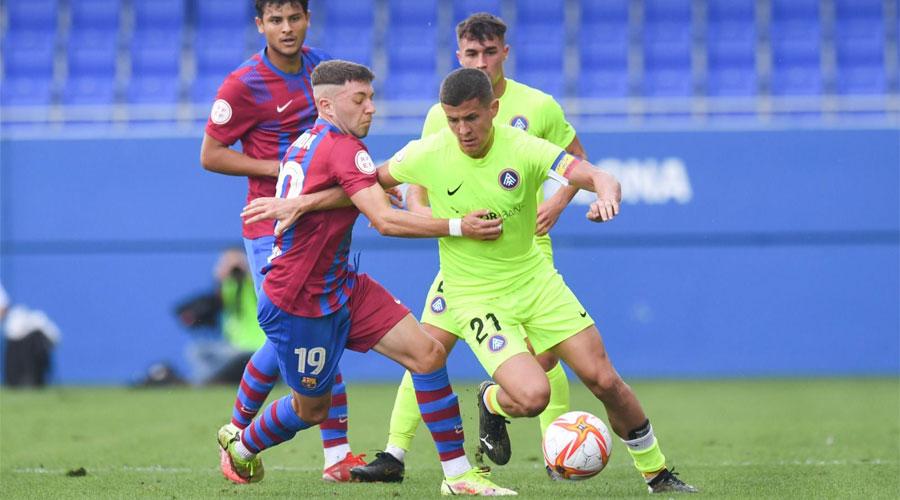 Un moment d'un enfrontament Barça B vs FC Andorra