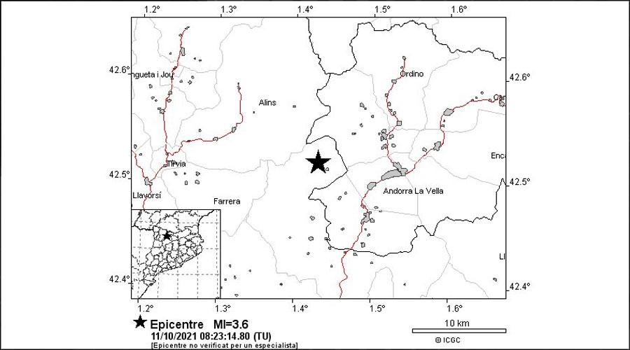 Mapa del terratrèmol registrat l'11 d'octubre del 2021