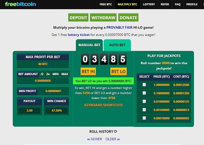 Freebitco賭盤,最高可賭20BTC - 假比特幣之名投機 - 比特臺灣論壇