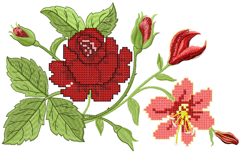 big rose free embroidery