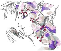 Spring woman and bird free machine embroidery design ...