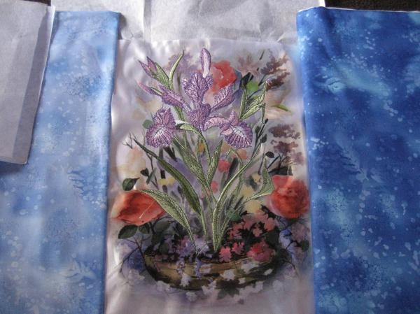 Big Iris Embroidery With Printed Background - Exhibitions
