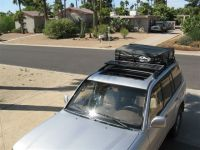 Solar panels under the roof rack