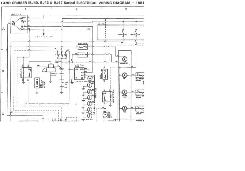Internal wiring of BJ40/BJ42/HJ42 glow relay (Manual glow