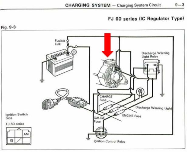 1984 toyota pickup 4x4 wiring diagram banshee headlight tachometer not working ih8mud forum charging system fj60 ic regulator arrow jpg