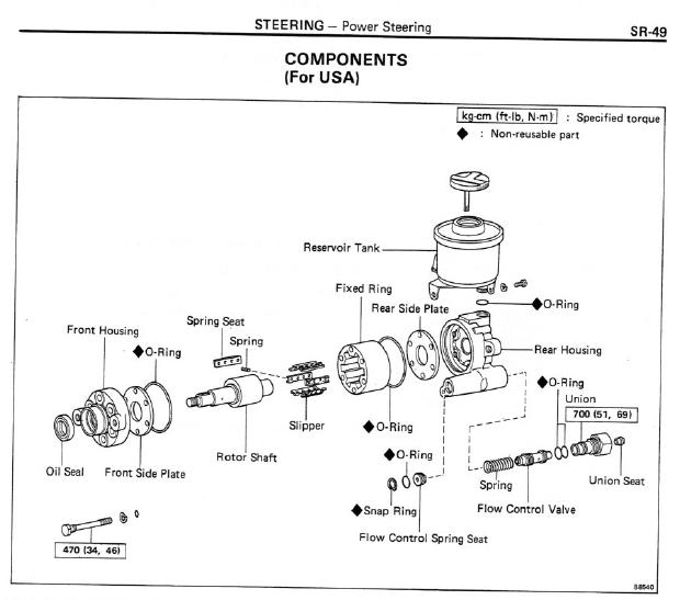 62 series or 3FE power steering pump rebuild diagram