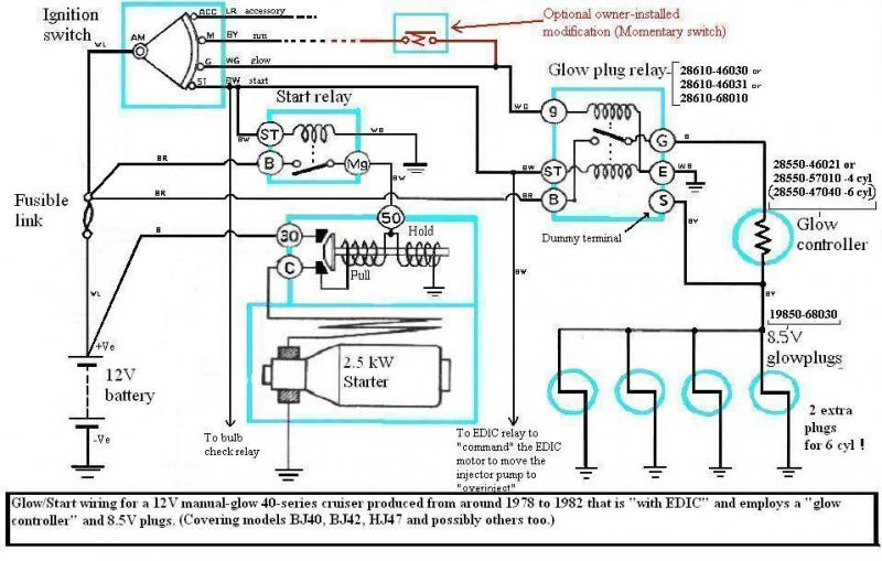 Ford 1710 Ignition Wiring Diagram Internal Wiring Of Bj40 Bj42 Hj42 Glow Relay Manual Glow