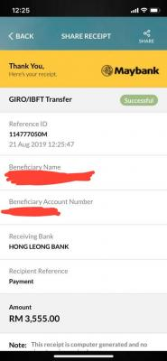 Suspect Fake Transaction Receipt